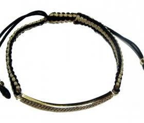 Beige and black pave sideways bar macrame bracelet