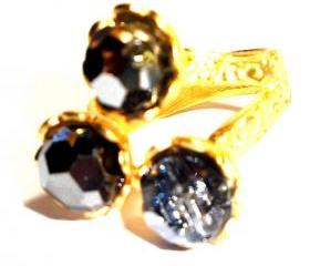 Jet AB Swarovski Crystal 22k gold plated ring