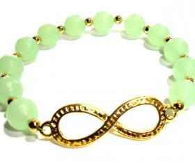 10mm Sea Foam green quartz infinity bracelet