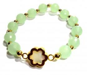 10mm Sea Foam green quartz flower bracelet